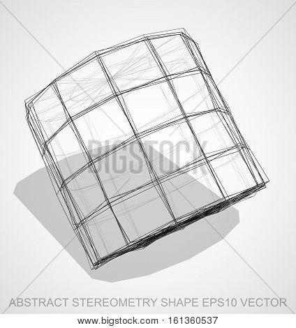 Abstract stereometry shape: Ink sketched Cylinder with Transparent Shadow. Hand drawn 3D polygonal Cylinder. EPS 10, vector illustration.