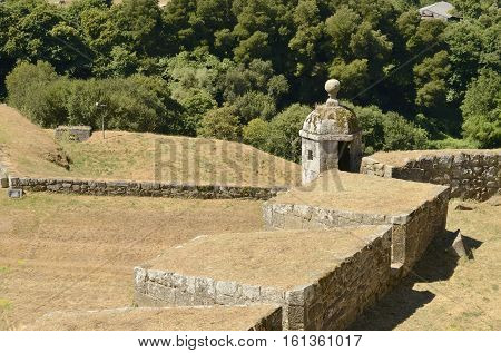 VALENCA, PORTUGAL - AUGUST 7, 2016: Watchover of the fortress in the village of Valenca a town located in the frontier with Spain in Portugal.