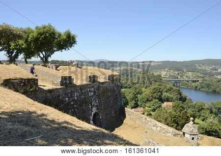 VALENCA, PORTUGAL - AUGUST 7, 2016: People at the fortress in the village of Valenca a town located in the frontier with Spain in Portugal.