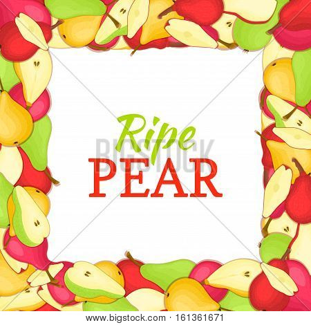 Square colored frame composed of delicious juicy pear fruit. Vector card illustration. Rectangle pears frame. Ripe fresh pear fruits appetizing looking for packaging design of juice breakfast food