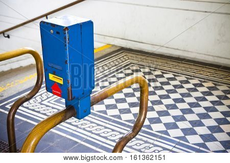 Colored obliterator in a old Viennese metro railway