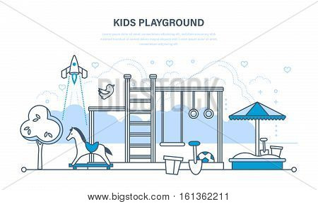 Concept illustration - children's entertainment playground with a sandpit, swings, toys and recreation park. Illustration thin line design of vector doodles, infographics elements.