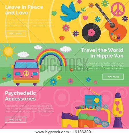 A collection of vintage retro 1960s hippie style header banners. Bright illustrations of travelling in hippie van, household innovations and appliances, personal items and accessories.