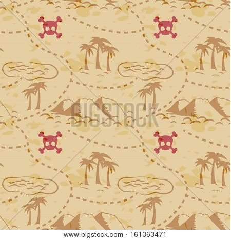 Ancient old pirate treasure map seamless pattern, island map on brown old paper, pathway to the riches and scull with bones. Seamless background for print and decoration.