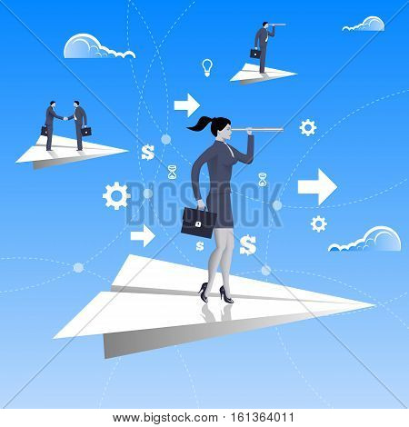 Flying on paper plane business concept. Confident business woman in business suit with case and looking glass flying on paper plane. Searching for opportunities looking for solution.