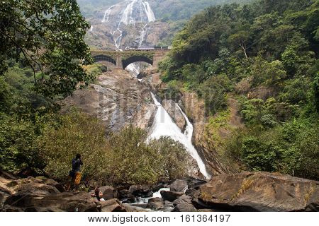 water fall three strean and four tier 310 metre high on Mandovi river in Goa
