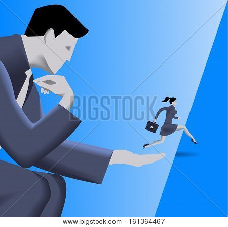 Helping hand business concept. Huge businessman helps small business woman to jump over abyss. Concept of help protection cooperation collaboration mentoring. Vector illustration.