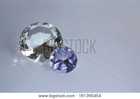 crystals similar to diamonds on a purple background