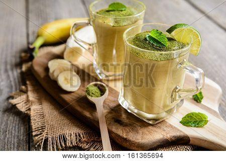 Banana Smoothie With Matcha Tea