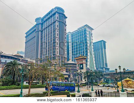 Macao China - March 8 2016: Macau Sands Cotai Central casino luxury resort in Cotai Strip in Macao in China.