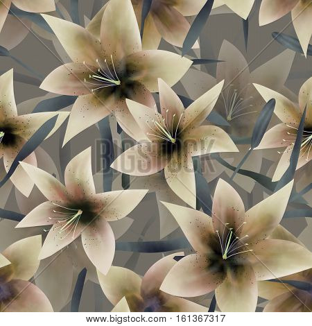 Beige fantasy lilly floral seamless pattern background
