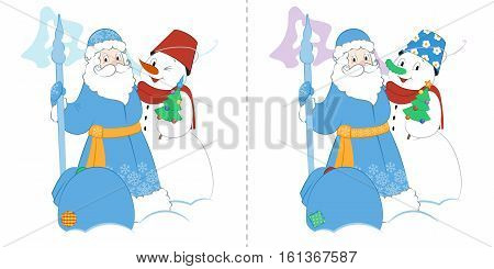 Cartoon Father Frost with Snowman and presents. A small Christmas tree and a big bag of gifts. Find ten differences.