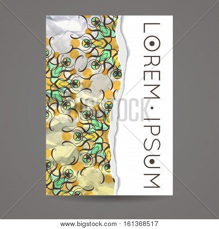 Vector design template. Vintage frame or background. Business card with monogram circle ornament. Mandala style in art nouveau. Torned paper.