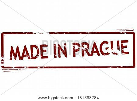 Stamp with text made in Prague inside vector illustration