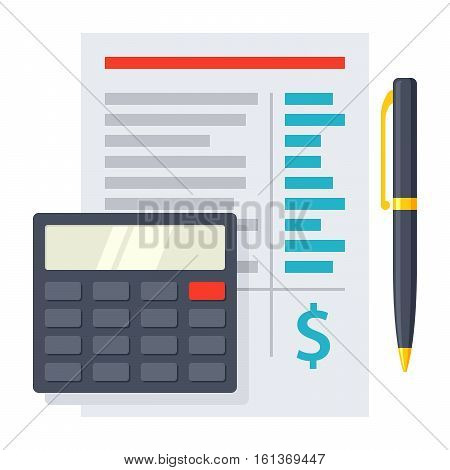 Budget planning sheet with pen and calculator