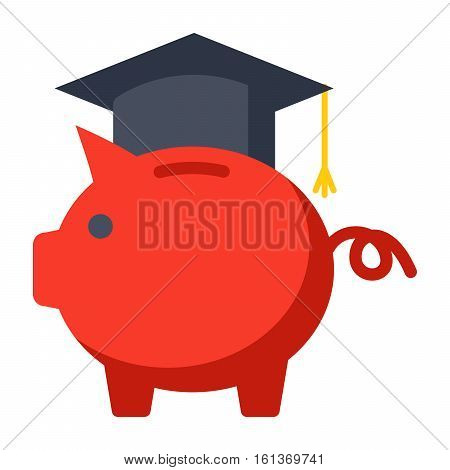 529 college savings plan concept with piggy bank wearing a graduation cap
