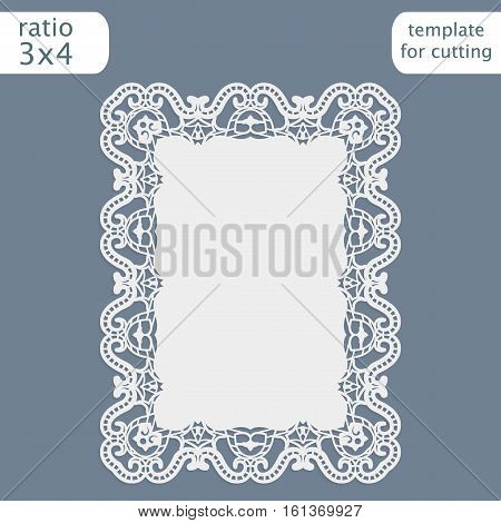 Greeting card with openwork border paper doily under the cake template for cutting wedding invitation decorative plate is laser cut frame with lace edge vector illustrations.