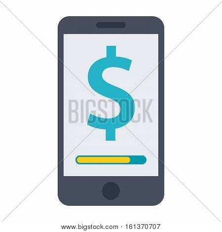 Concept for mobile banking and online payment with smartphone and dollar sign