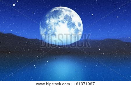 3D render of a snowy landscape with a moonlit sky