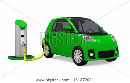 Electric Car in Charging Station isolated on white background. 3D render