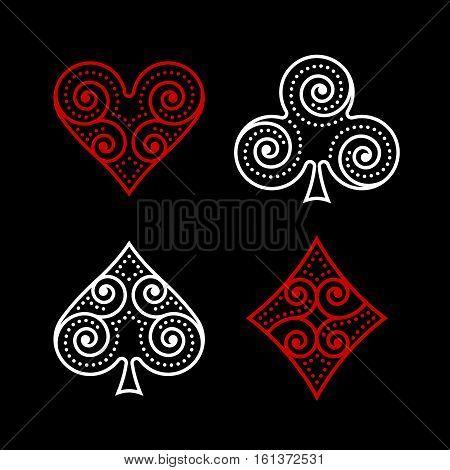 Vector Ornamental Poker Poster -  Symbols Illustration