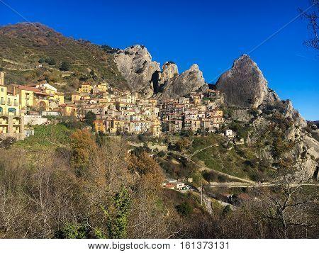 Panoramic view of the pictursque Lucan Dolomites of Castelmezzano