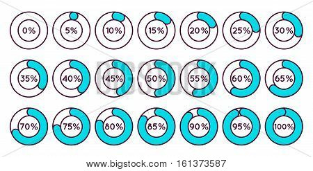 Set of blue circle percentage diagrams for infographics, 0 5 10 15 20 25 30 35 40 45 50 55 60 65 70 75 80 85 90 95 100 percent. Vector illustration.