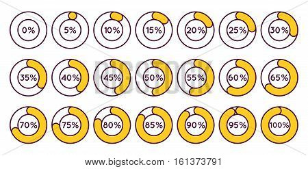 Set of orange circle percentage diagrams for infographics, 0 5 10 15 20 25 30 35 40 45 50 55 60 65 70 75 80 85 90 95 100 percent. Vector illustration.
