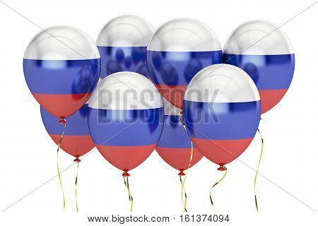 Balloons with flag of Russia holyday concept. 3D rendering isolated on white background