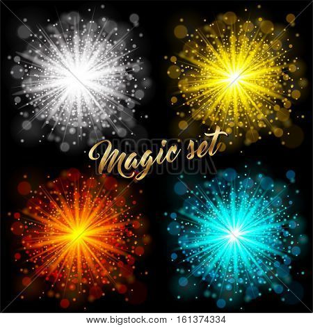 Set of transparent glow light effect on black background. Star burst with sparkles. Gold silver orange blue glitter. Vector stock