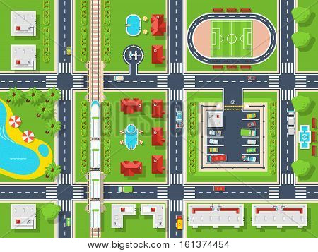 City map top view poster with roads houses pool parking field and railroad flat vector illustration