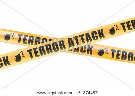 Terror Attack Caution Barrier Tapes 3D rendering