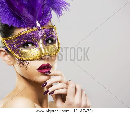 Paarty Woman Swearing Golden Mask On Light Backgound