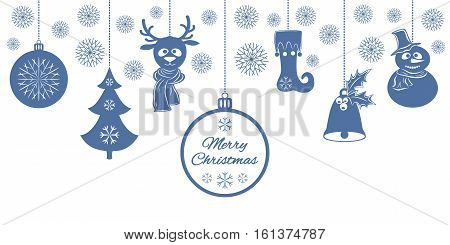 Blue Christmas pendants: a bell with holly, ball, fir-tree, snowflakes, a deer in scarf, snowman in a hat, stocking. Universal border isolated on white background. Vector illustration. Usable for design greeting card, banner, invitation.