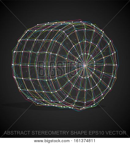 Abstract geometry shape: Multicolor sketched Cylinder with Transparent Shadow. Hand drawn 3D polygonal Cylinder. EPS 10, vector illustration.