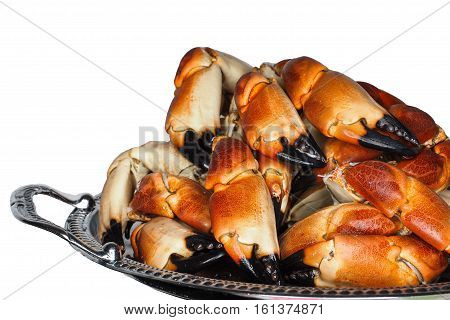 Pile Of Fresh Boiled Crab Claws On A Silver Tray, Isolated On White Background