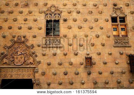 Casa de las Conchas shell house in Salamanca of Spain exterior image shot from public floor