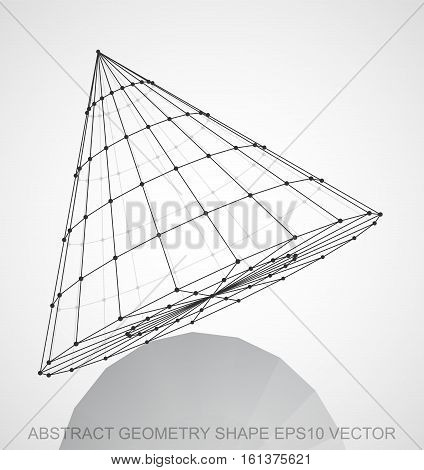 Abstract geometry shape: Black sketched Cone with Reflection. Hand drawn 3D polygonal Cone. EPS 10, vector illustration.