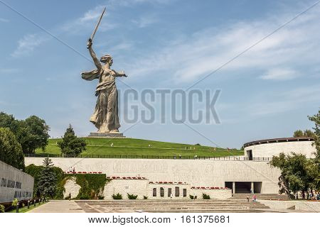 VOLGOGRAD, RUSSIA - AUG 01, 2016: Memorial complex Mamaev Kurgan. The view of the monument The Motherland calls! with Heroes' square