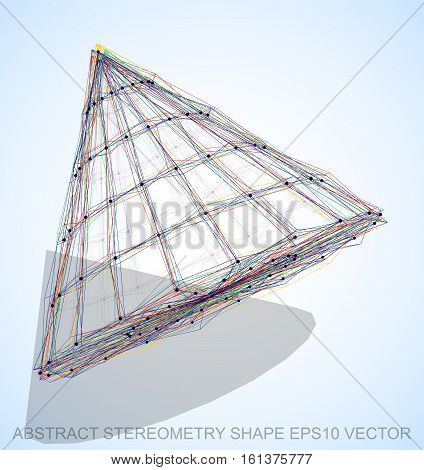 Abstract stereometry shape: Multicolor sketched Cone with Transparent Shadow. Hand drawn 3D polygonal Cone. EPS 10, vector illustration.