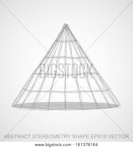 Abstract stereometry shape: Pencil sketched Cone with Transparent Shadow. Hand drawn 3D polygonal Cone. EPS 10, vector illustration.