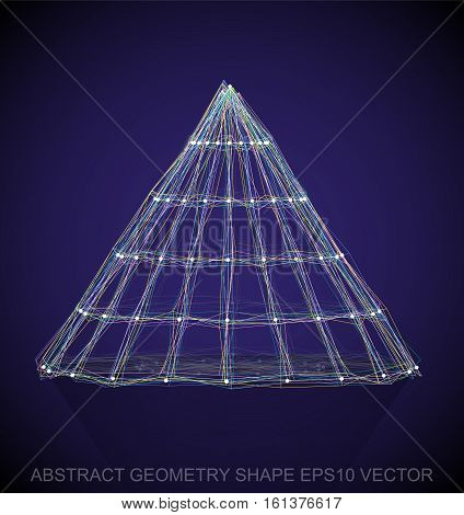 Abstract geometry shape: Multicolor sketched Cone with Reflection. Hand drawn 3D polygonal Cone. EPS 10, vector illustration.