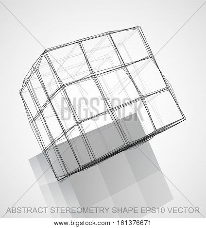 Abstract stereometry shape: Ink sketched Cube with Reflection. Hand drawn 3D polygonal Cube. EPS 10, vector illustration.