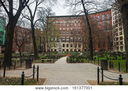 Boston, USA - April 27, 2015: Granary Burying Ground in Tremont Street in downtown Boston Massachusetts the United States.
