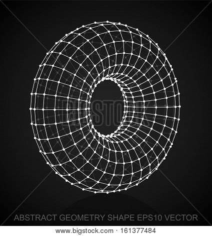 Abstract geometry shape: White sketched Torus with Reflection. Hand drawn 3D polygonal Torus. EPS 10, vector illustration.
