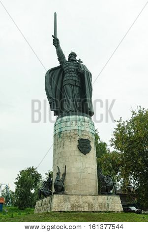 Monument of Russian folk fairy tale hero - Ilya Muromets, hero of Russian epic in ancient town Murom, Russia