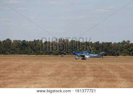 small light sports aircraft on the ground