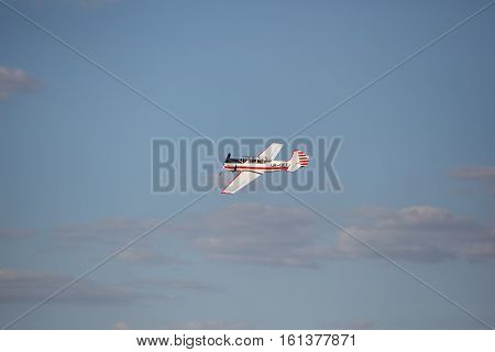 light small sport aircraft in the sky