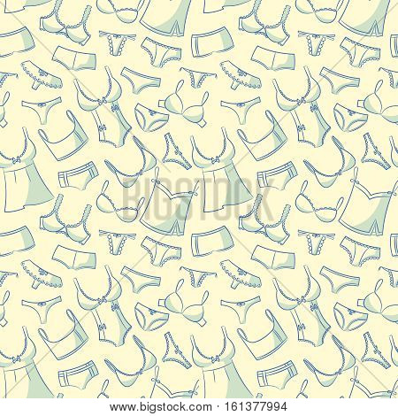 Doodle set with women's underwear seamless pattern. Casual underclothes for girls cartoon background.