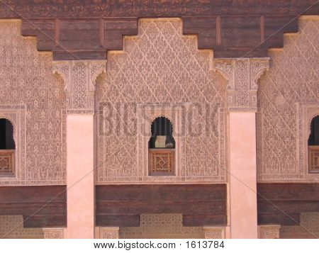 Oriental Architecture With Azulejos And Painted Stuc On A Wall And Culumns, Ben Youssef Medersa, Mar